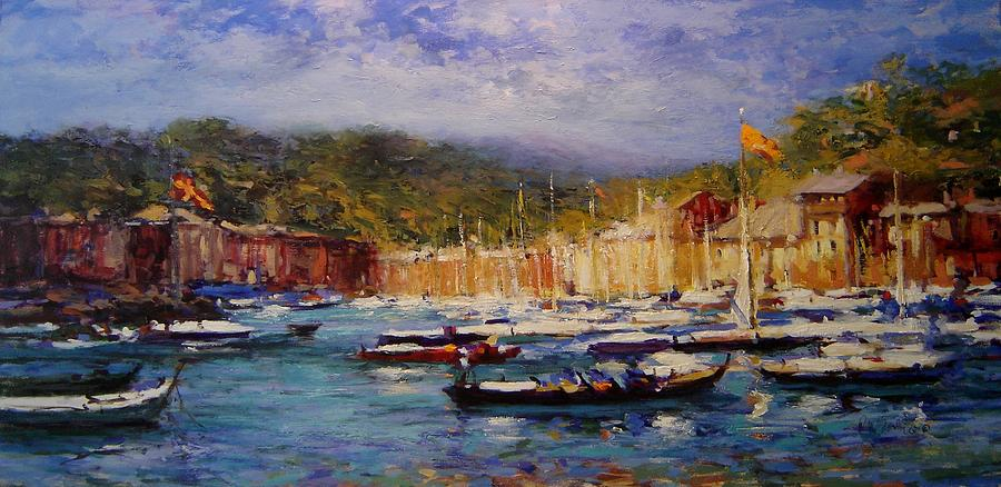 Boats Painting - Boats At Portofino Italy  by R W Goetting