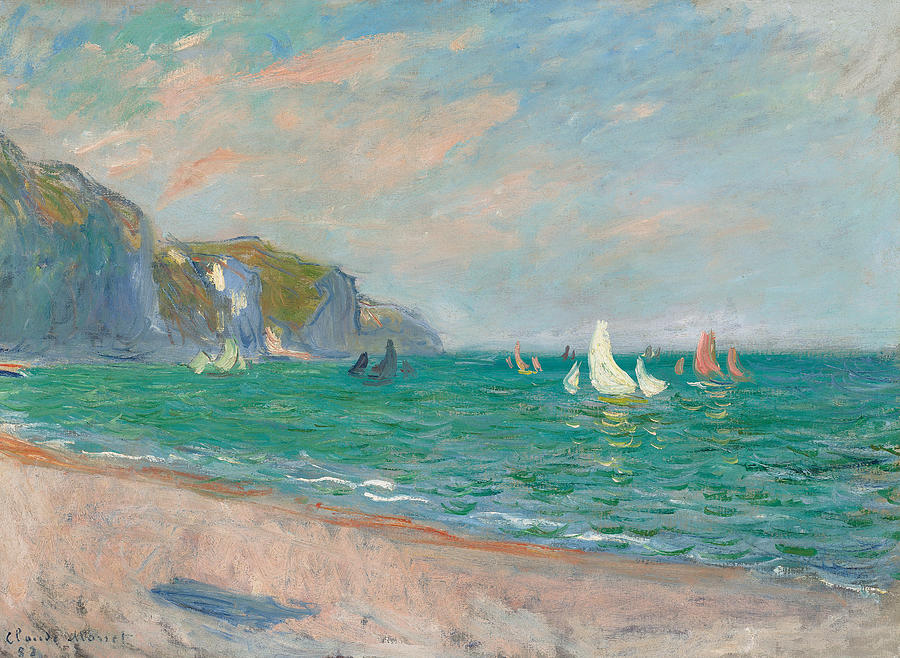 French Painting - Boats Below The Pourville Cliffs by Claude Monet