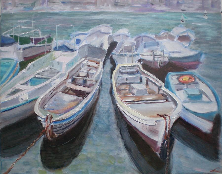 Boats Painting - Boats by Elena Sokolova