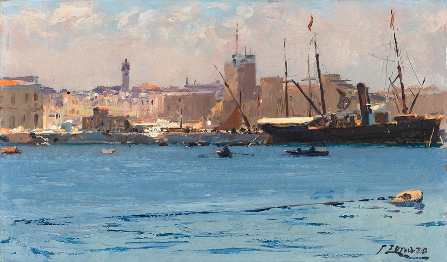 Fausto Zonaro Painting - Boats In A Port by Fausto Zonaro