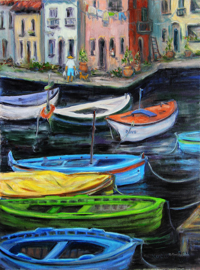 Village Painting - Boats In Front Of The Buildings II by Xueling Zou
