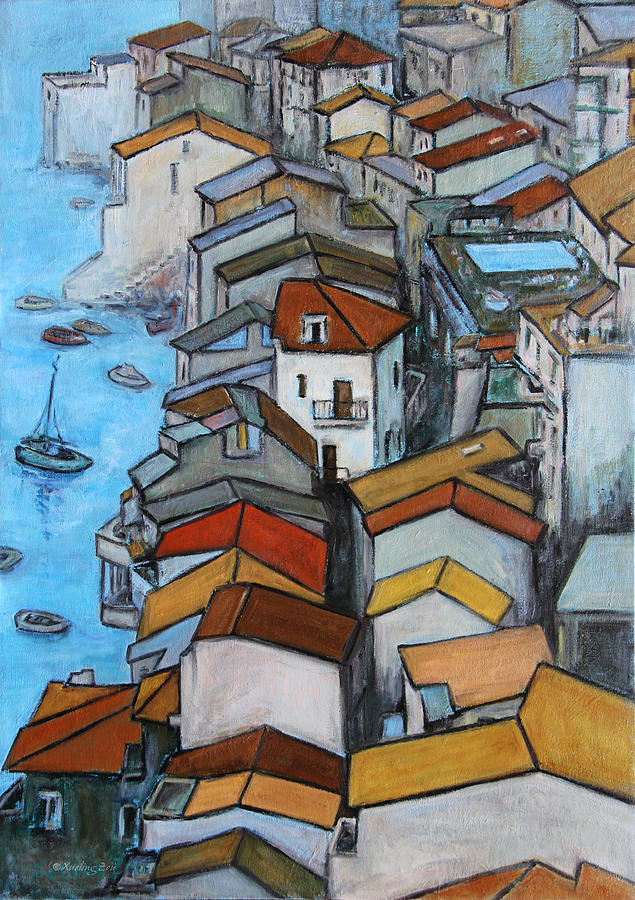 Roofs Painting - Boats In Front Of The Buildings Iv by Xueling Zou