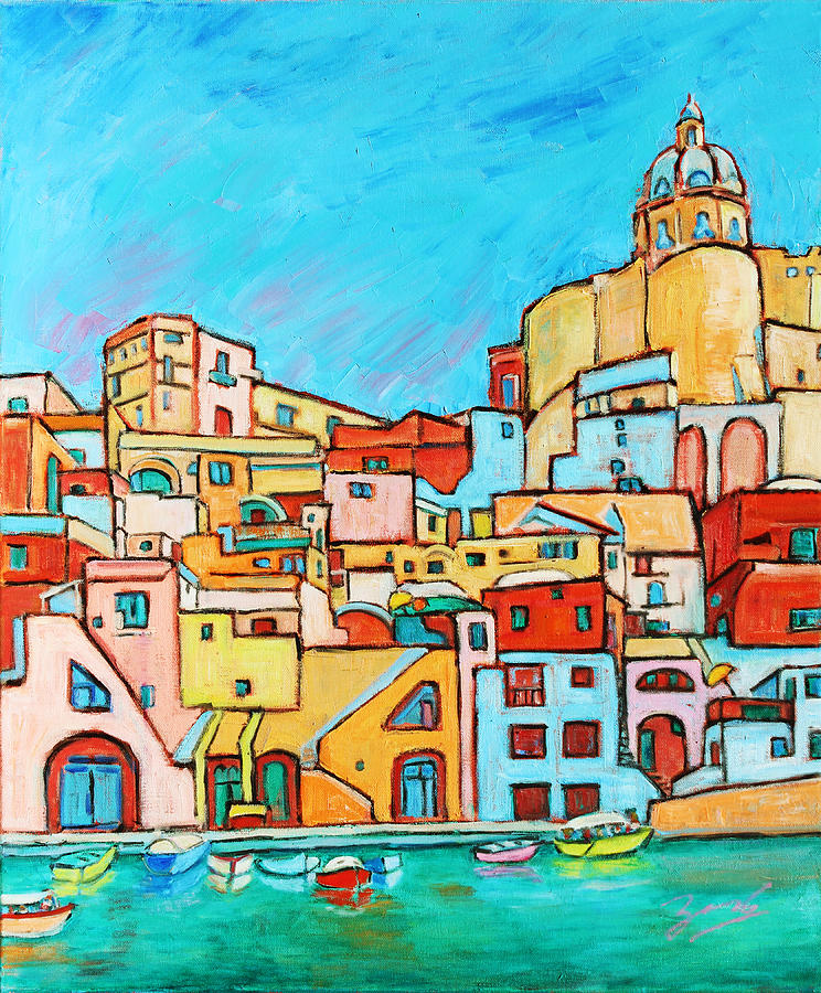 Campania Painting - Boats In Front Of The Buildings Vii by Xueling Zou