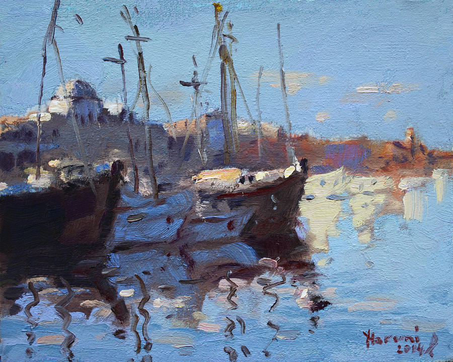 Boats Painting - Boats In Mandraki Rhodes Greece  by Ylli Haruni