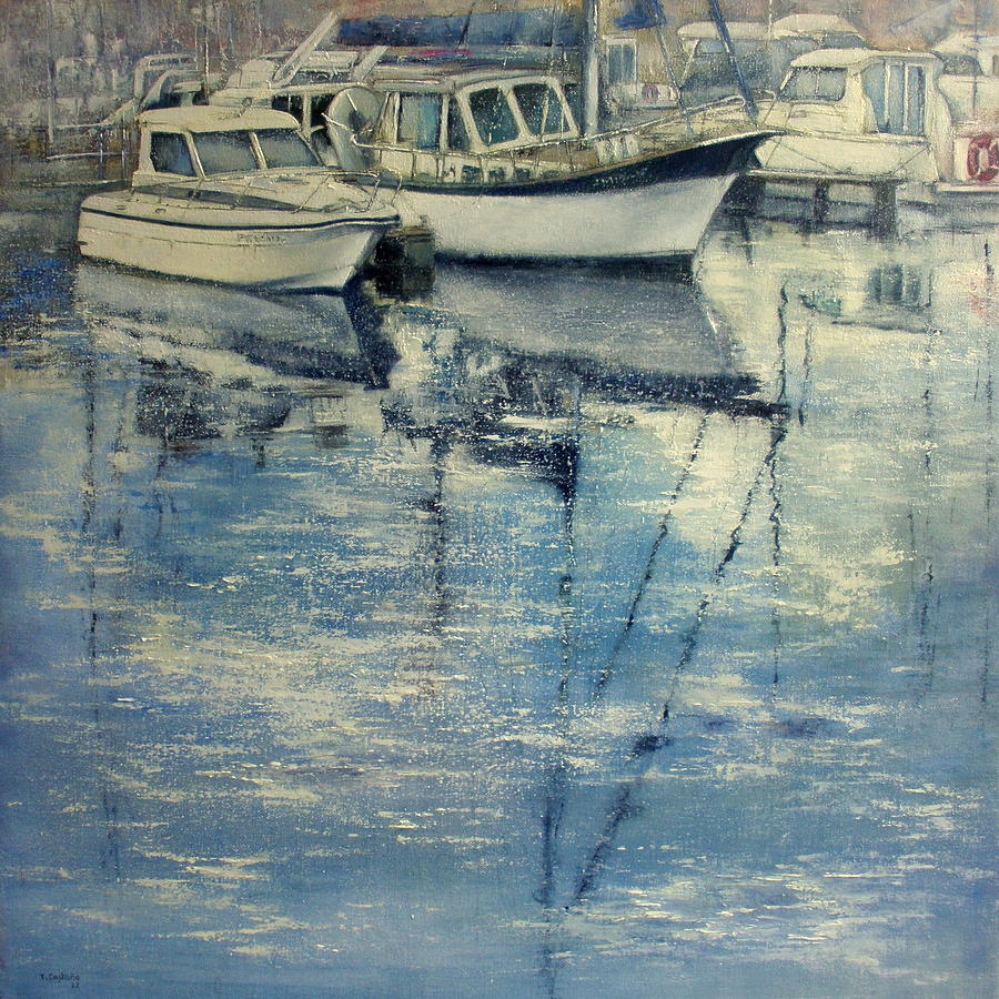 Boats Painting - Boats in Puertochico by Tomas Castano
