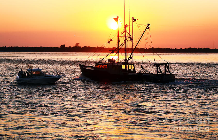 Boats In The Night Photograph - Boats In The Night by John Rizzuto
