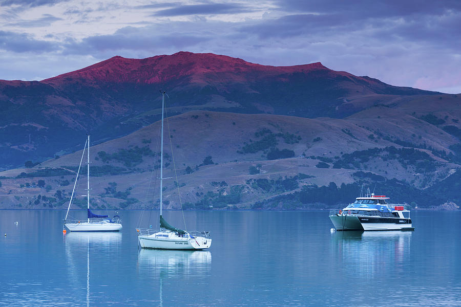 Horizontal Photograph - Boats In The Ocean At Dusk, Akaroa by Panoramic Images