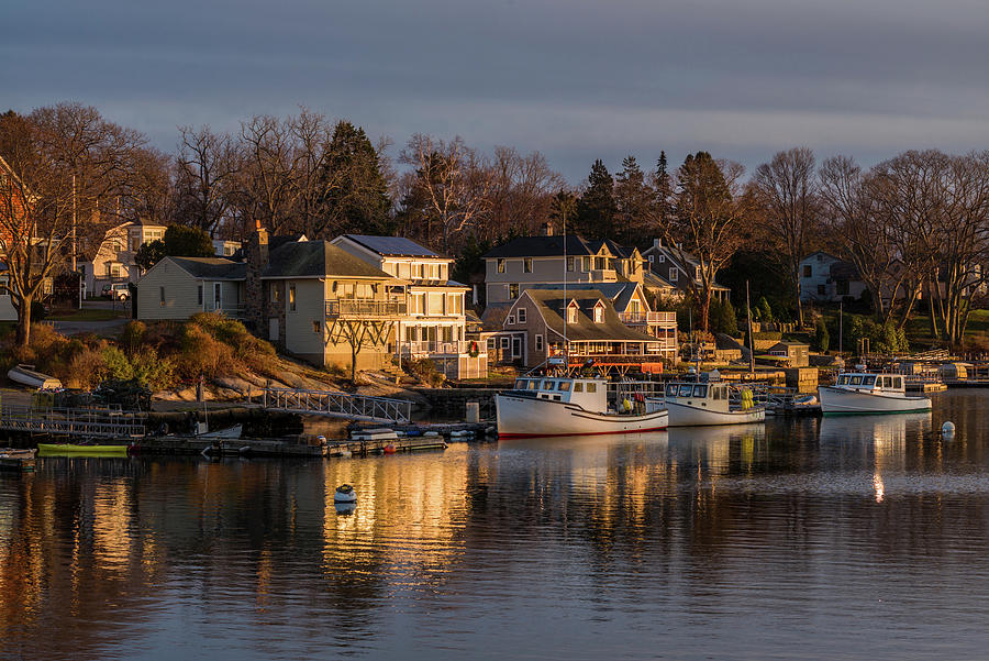 Horizontal Photograph - Boats Moored At Harbor During Dusk by Panoramic Images