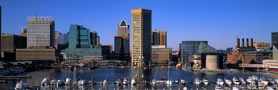 Horizontal Photograph - Boats Moored At Inner Harbor Viewed by Panoramic Images
