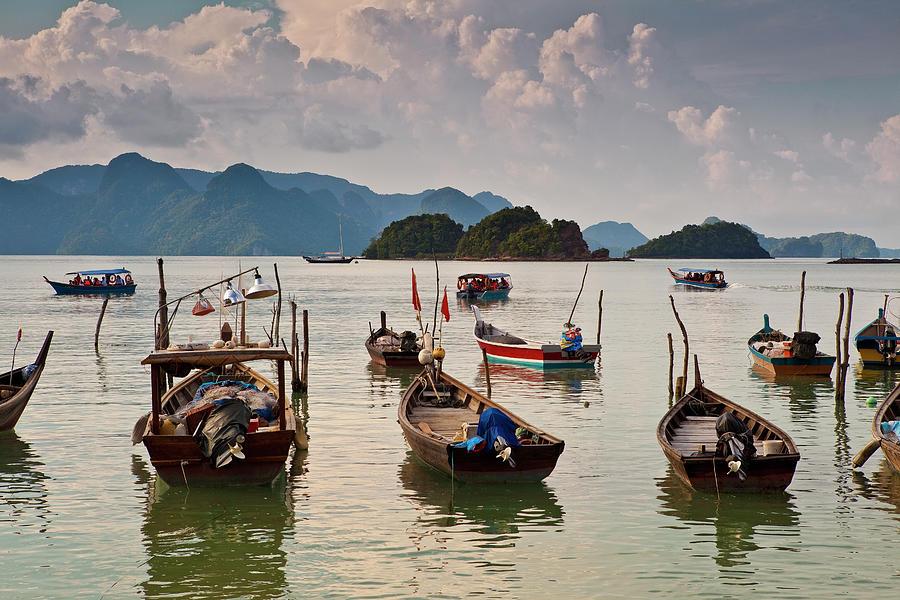 Boats Moored In Sea, Teluk Baru Photograph by Richard Ianson