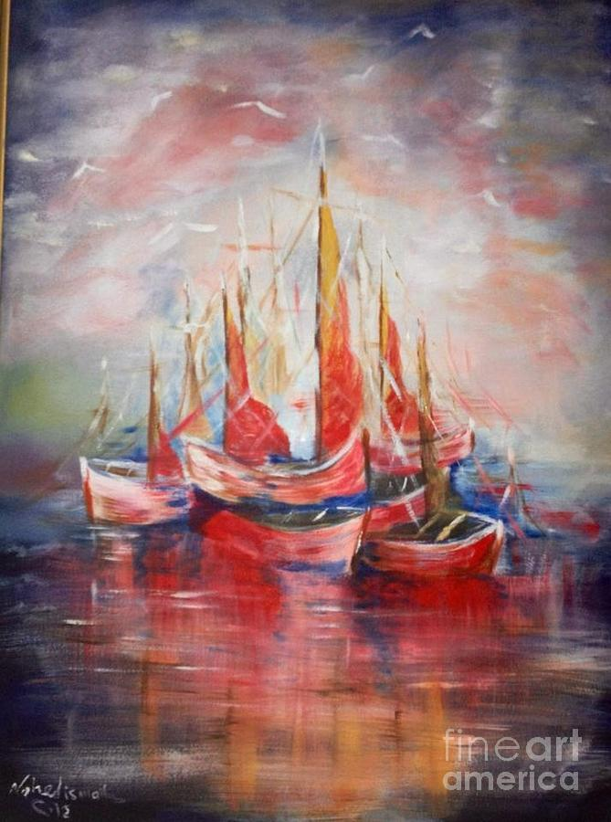 Boats Painting by Nahed Ismaeil