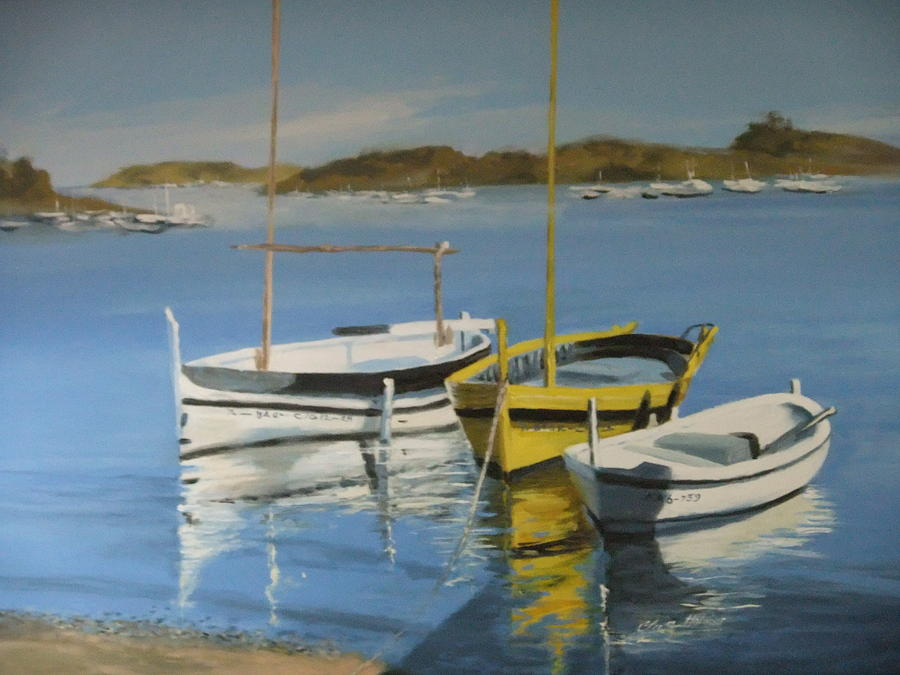 boats of Cadaques Painting by Clive Holden