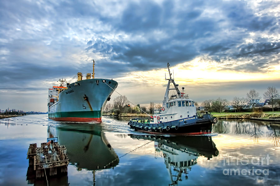 Tugboat Photograph - Boats On A Canal by Olivier Le Queinec