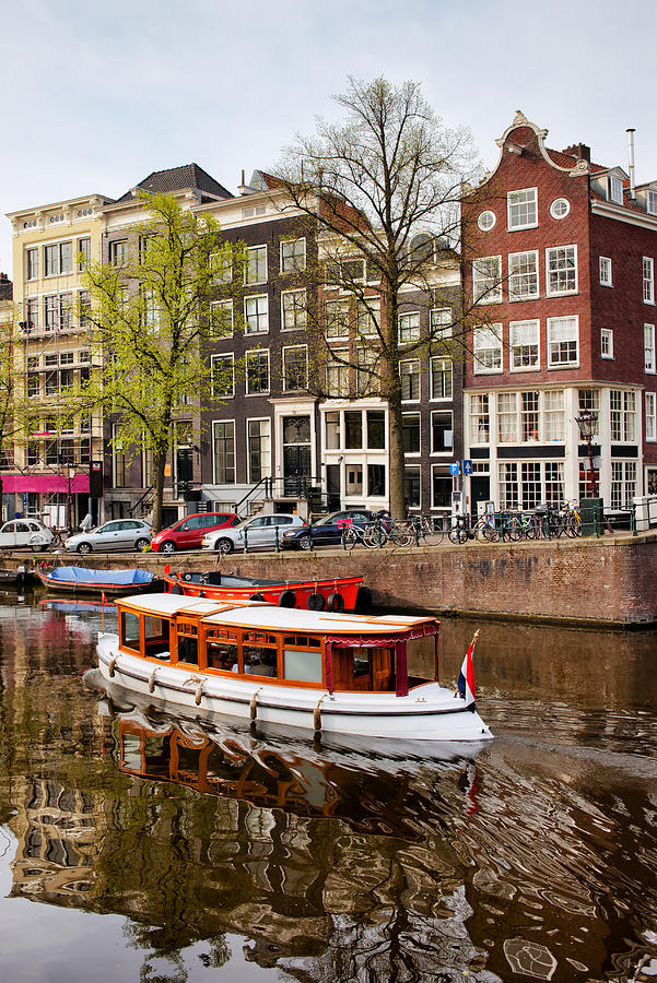 Amsterdam Photograph - Boats On Canal In Amsterdam by Artur Bogacki