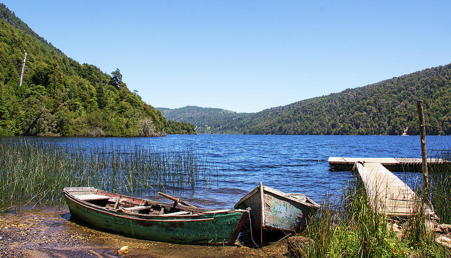 Boats On Lake In Huerquehue National Photograph by Sam Kirk