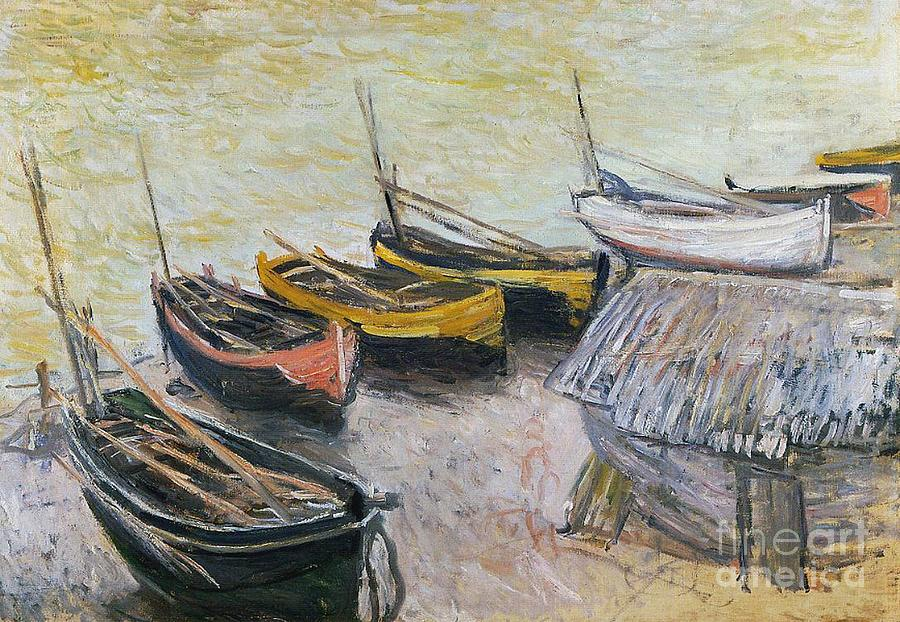 Boats On The Beach Painting - Boats On The Beach by Claude Monet