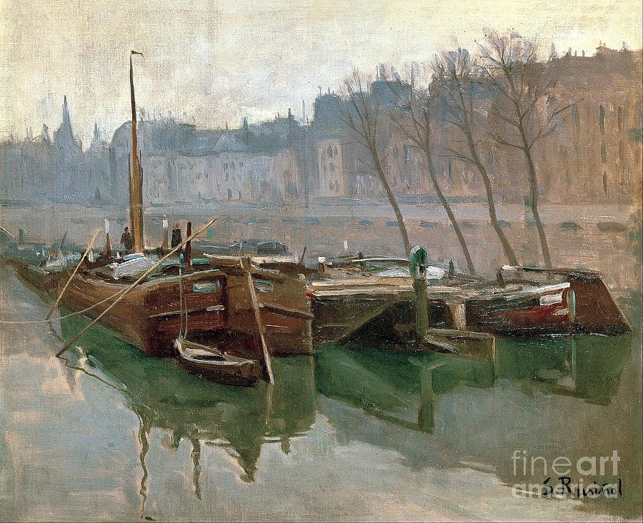Reproduction Painting - Boats On The Seine by Roberto Prusso