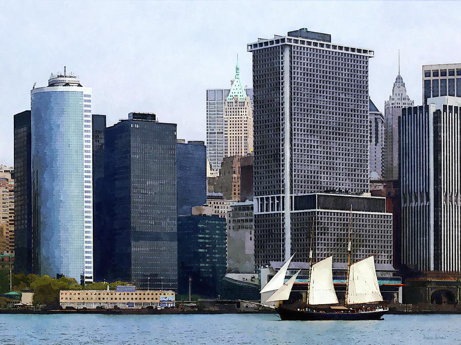Skyscraper Photograph - Boats - Schooner Against The Manhattan Skyline by Susan Savad