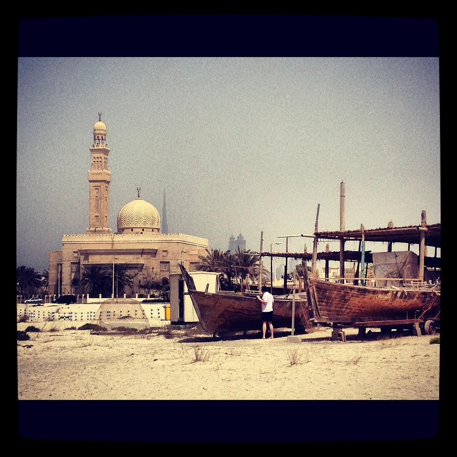 Canvas Prints Photograph - Boatyard Dubai by Maeve O Connell