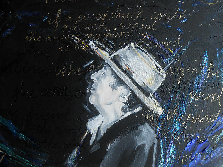 Pop Painting - Bob Dylan - Blowing In The Wind by Lucia Hoogervorst