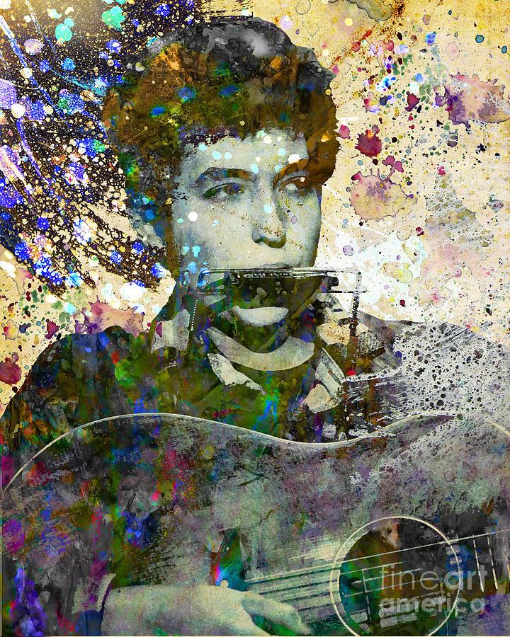 60s Painting - Bob Dylan Original Painting Print by Ryan Rock Artist