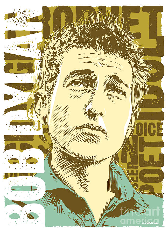 1960s Digital Art - Bob Dylan Pop Art by Jim Zahniser
