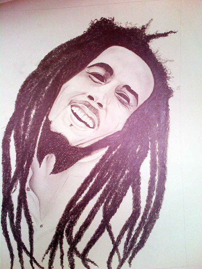 Scottish Artist Drawing - Bob Marley by Aileen Carruthers