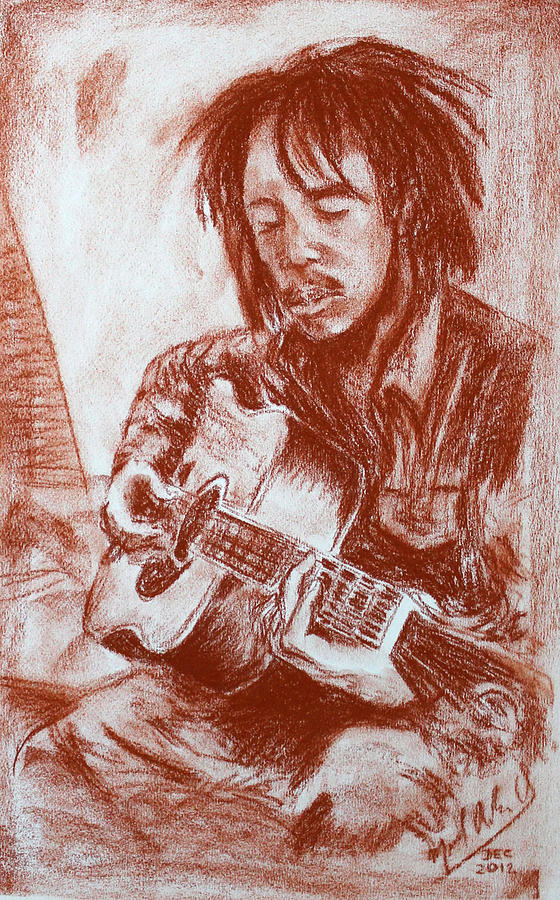 Bob Marley - Exercise  Drawing by Miguel Rodriguez