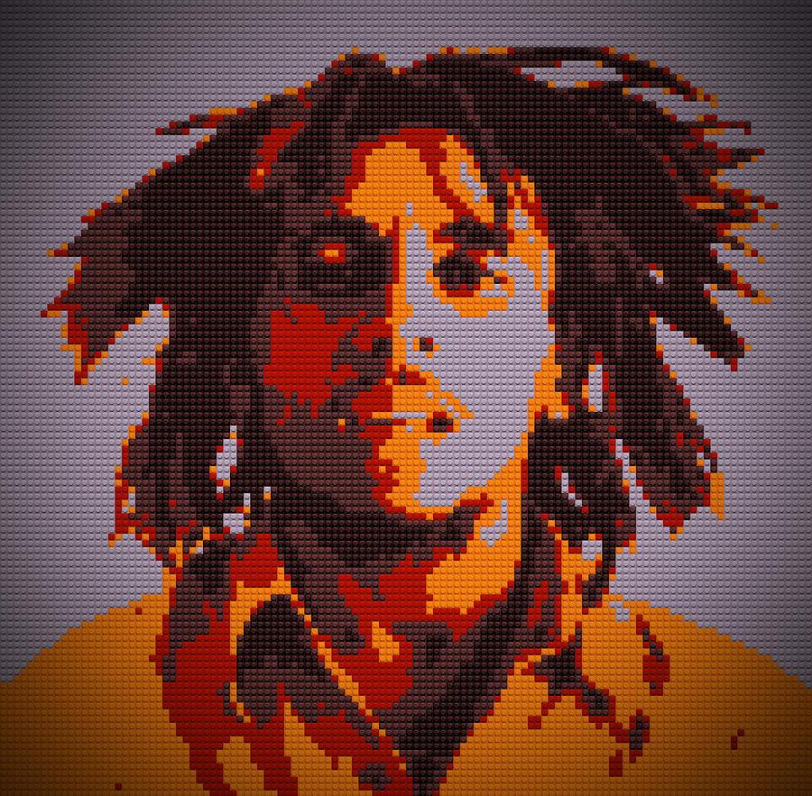 Bob Marley Painting - Bob Marley Lego Pop Art Digital Painting by Georgeta Blanaru