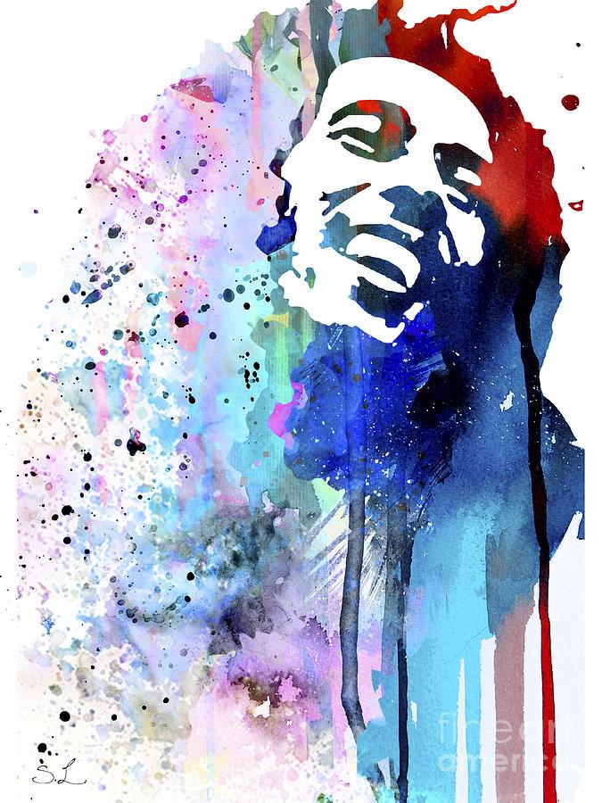 Illustration Painting - Bob Marley by Watercolor Girl