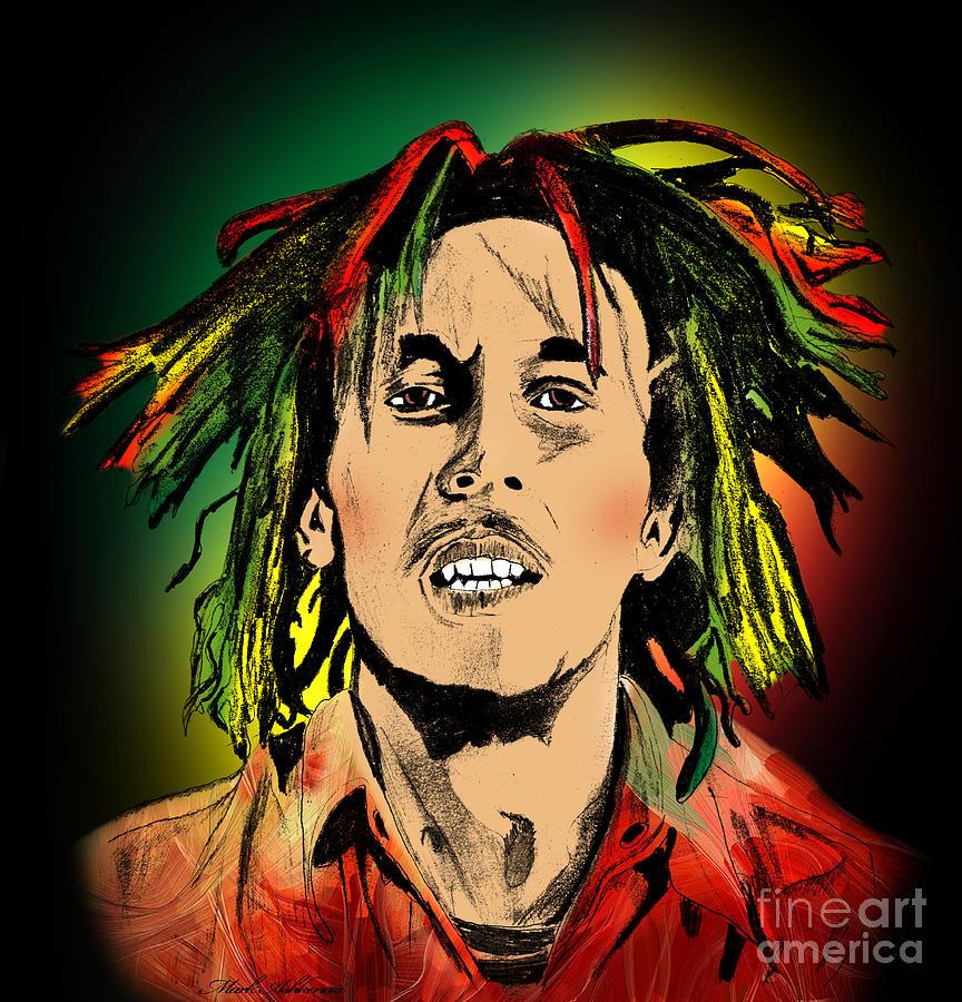 Bob Marley Painting By Mark Ashkenazi