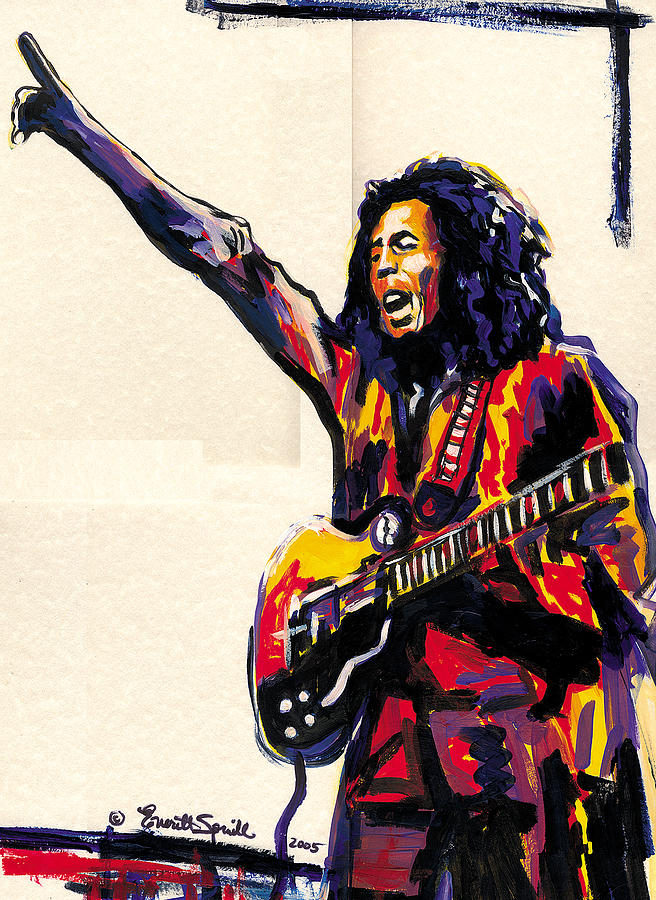 Everett Spruill Painting - Bob Marley - One Love by Everett Spruill