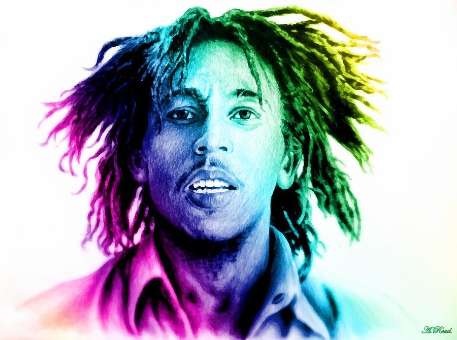 Bob Marley Drawing - Bob Marley  Rainbow Effect by Andrew Read