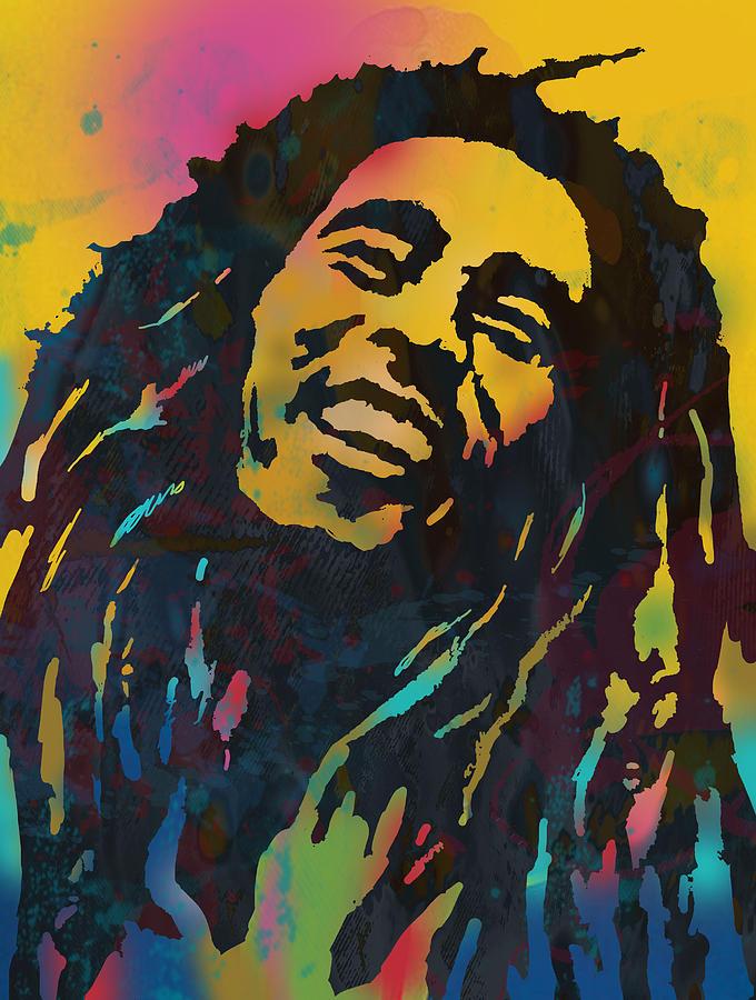 Bob Marley Stylised Etching Pop Art Drawing Potrait Poser By