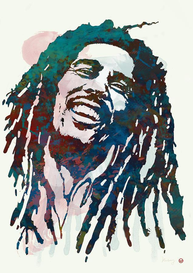 Bob Marley Stylised Etching Pop Art Poster Drawing By Kim Wang