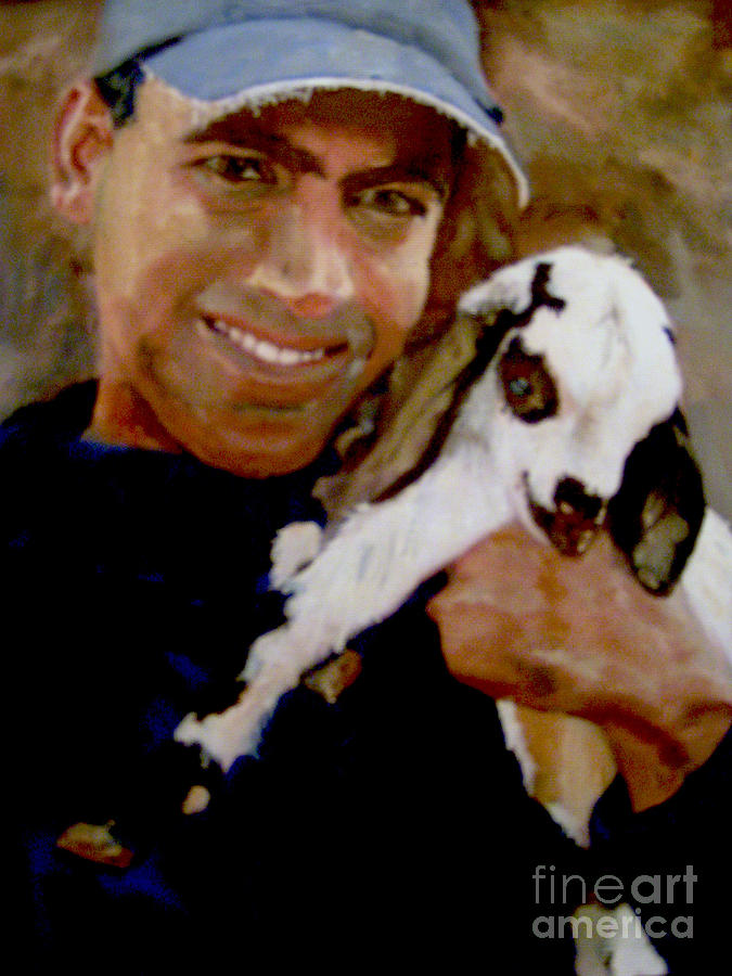 Baby Goat Painting - Bobby And The Kid by Sharon Burger