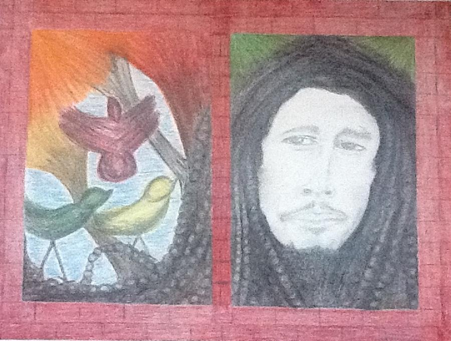 Bob Marley Drawing - Bobs 3 Little Birds by Michele Moore
