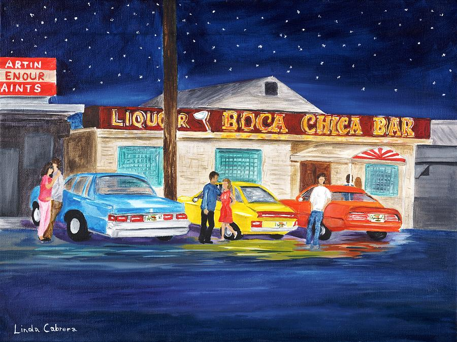 Bar Painting - Boca Chica Bar by Linda Cabrera
