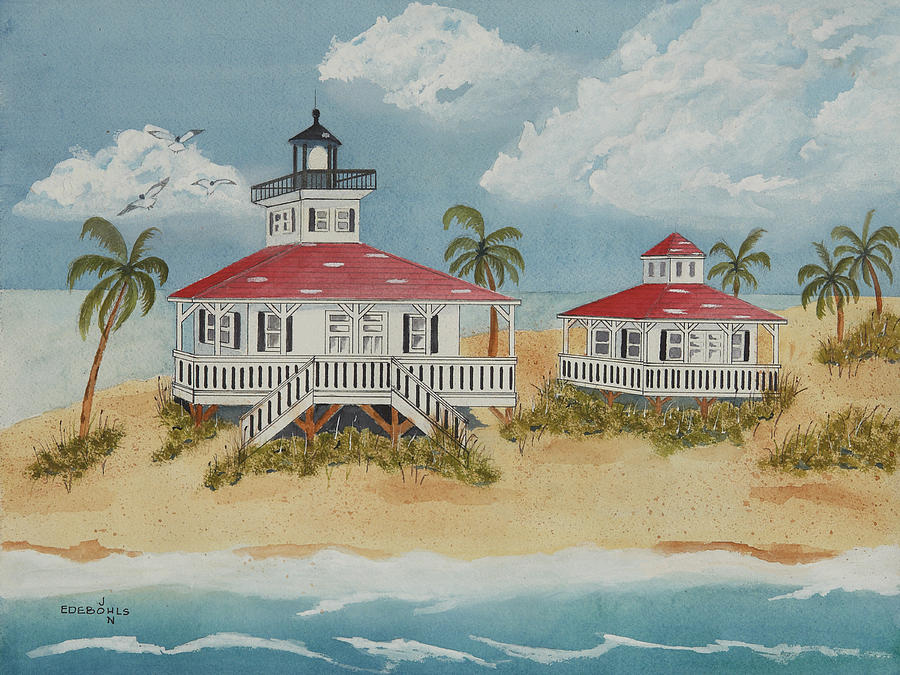Gasparilla Island Painting - Boca Grande Lighthouse by John Edebohls