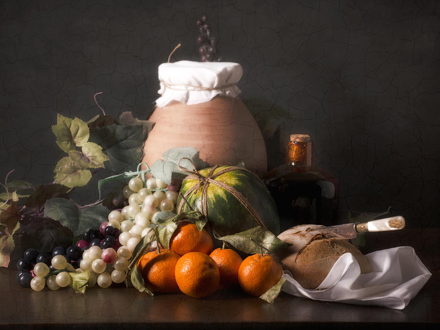 Bodegon Photograph - Bodegon With Grapes-watermelon And Big Jar by Levin Rodriguez