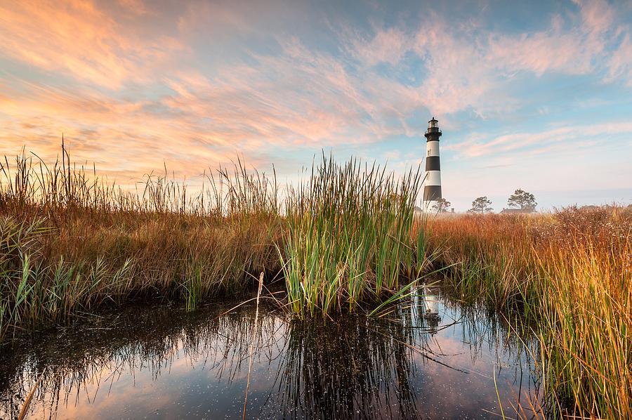 North Carolina Photograph - Bodie Island Lighthouse Coastal Marsh Reflections by Mark VanDyke