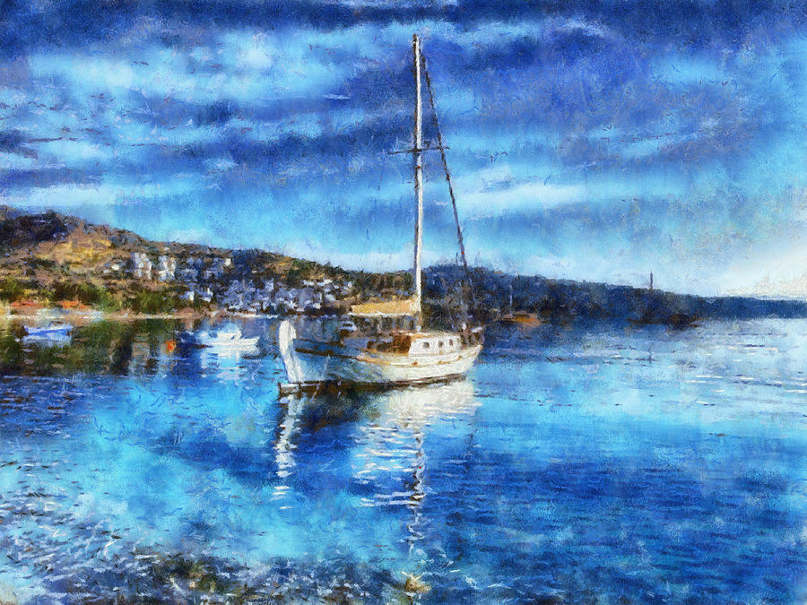 Boat Painting - Bodrum Bay In Turkey by Lilia D