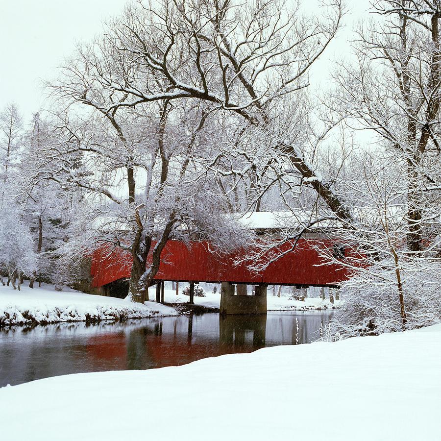 Horizontal Photograph - Bogarts Bridge Red Covered Bridge by Vintage Images
