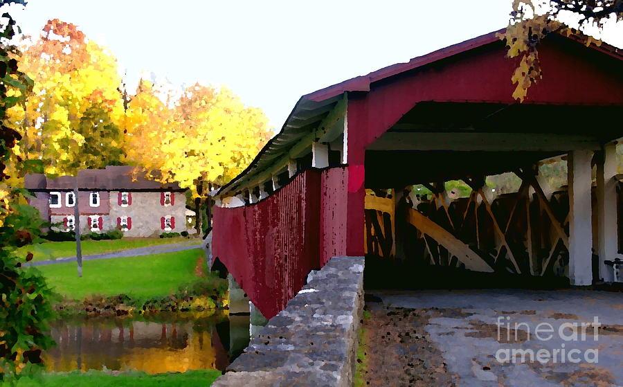 Bridge Photograph - Bogerts Covered Bridge Allentown Pa by Jacqueline M Lewis