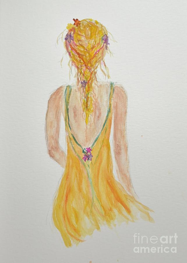 Bohemian Girl In Watercolor by Anne Clark
