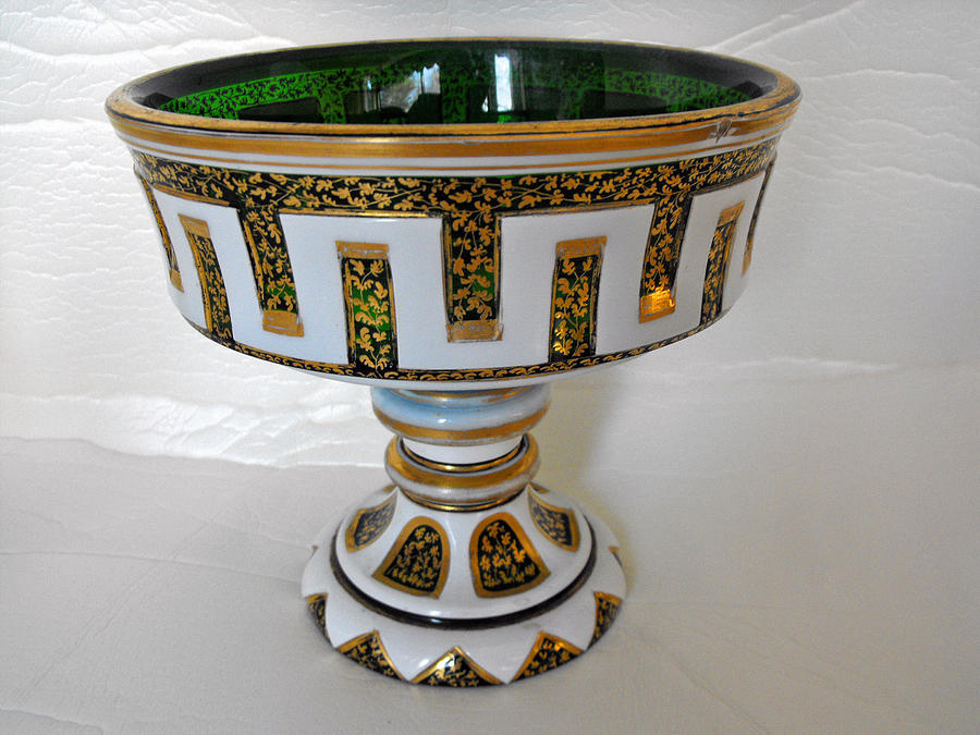 Bohemian Glass Pedestal Bowl With Intricate Gilded Decorations Glass Art by Anonymous artist