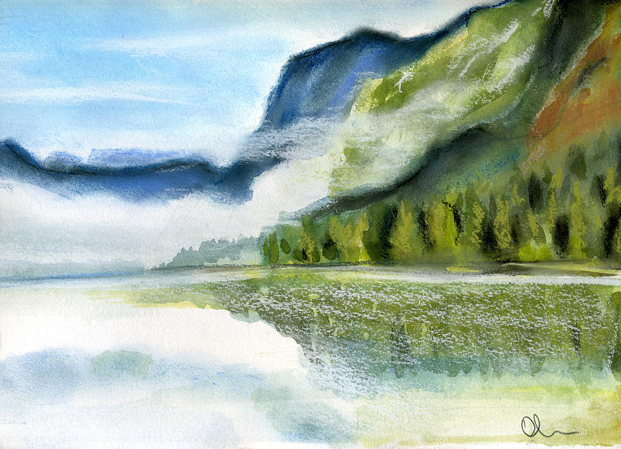 Slovenia Painting - Bohinj Lake. Slovenia by Lelia Sorokina