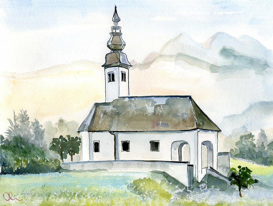Slovenia Painting - Bohinjska Bistrica by Lelia Sorokina