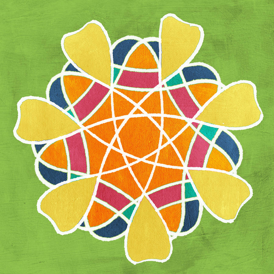 Boho Mandala On Green Painting