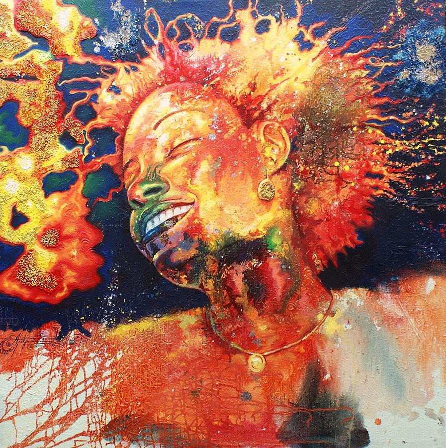 Boiling Flames Of Joy Painting by Godwin Arikpo